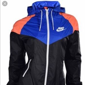 Nike Color Block Black Blue / Orange Sports Jacket
